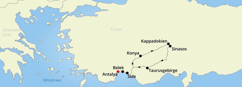 Türkische Riviera Karte.Zauberhaftes Kappadokien Und Türkische Riviera Just Away
